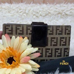 Authentic Fendi FF Brown Kiss Lock Wallet